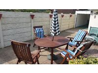Quality Solid Timber Outdoor/Patio Table and Chairs with Accessories