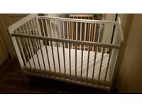 Baby cot (white) and mattress, John Lewis