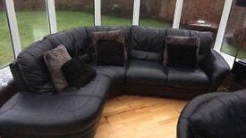 DFS black leather upgraded sofa