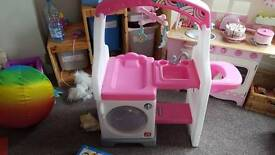 Girls role play baby changing unit and washing machine with high chair and sink. Perfect