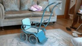 Rare 1950s Silver cross Dolls Pushchair with rare 1930's/40's black composition baby doll.