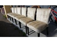Set Of 6 Champagne Chenille Dining Chairs In Excellent Condition