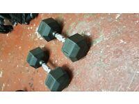 Body power 12.5kg rubber hex dumbells