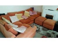 Large 5 seat corner sofa + 2 footstool