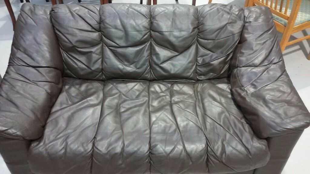 leather 2 seater small sofa