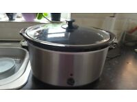 Large silver slow cooker. Used once
