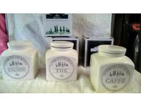 Kitchen Canisters - Tea, Coffee, Sugar (Porcelain from La Porcellana Bianca range)