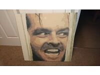 Jack Nicholson The Shining Canvas Print on wooden frame