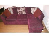 Plum Coloured Corner Sofa