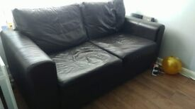 Sofa Bed 2 seater - brown faux leather