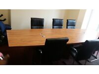 Wood finish boardroom/conference/meeting/office table seats up to 14