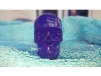 Purple resin skulls