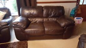 Brown leather 2 seater ibstock