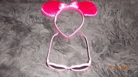 Girl's Minnie Mouse Dress Up Ears/Glasses Pink