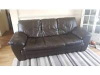 2 piece Brown soft leather 3 seater and chair