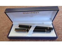 Brand New Waterman Laureat Fountain/Ball Pen Gift Set in High Gloss Black