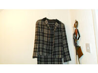 womans black and white check suit for sale ,jacket and skirt size 12.