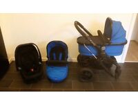 Icandy Peach 3 Cobalt Blue. Includes carry cot, buggy, recaro car seat, rain covers.