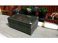 Garden Patio rattan coffee table with glass top