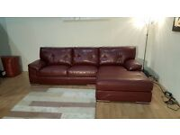 Ex-display Endurance Diamond deep red leather 3 seater chaise sofa