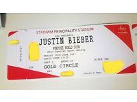 2 x Justin Bieber Tickets Gold Circle - Cardiff Principality Stadium