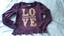 Girls infant purple sequins LOVE top size 3y