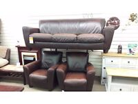 3 + 1 + 1 Brown Leather Suite