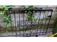 Ornate Black Garden Gate wrought iron type comes with hinges and latch.