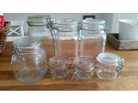 Mixed size glass sotrage jars - in great condition