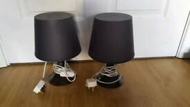 Pair of 2 Ikea bedside grey lamps