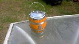 wood and chrome ice bucket