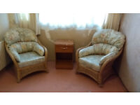 set of 2 very comfortable chairs suitable for conservatory. Neutral colours