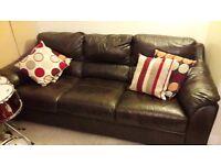 Dark brown real leather sofa
