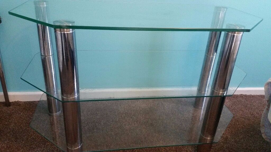 Unused Glass / chrome 3 shelves IKEA TV Trolley for tv / dvd etc only 15 from pets n smoke free home