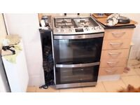Aeg freestanding gas cooker double oven nearly new used once stainless steel and black