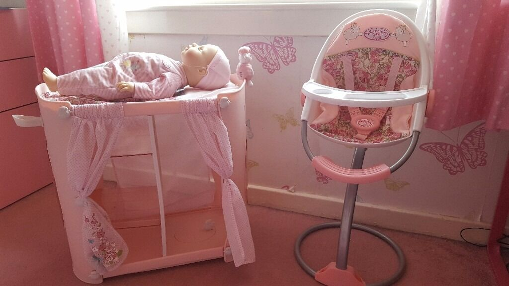 Baby Annabell Doll Changing Unit And Wardrobe Highchair Clothes - Anna bell baby wardrobe