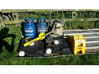 Caravan Kit - Wheel clamp, hitch lock, gas bottles x 2, aqua roll, level up, waste containers x 2