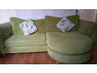 THE PRICE IS COMING DOWN!! Green cord DFS sofa with attachable chaise longue