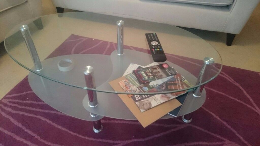 Glass Top Stainless Steel Coffee Table with Frosted Glass Shelves for Sale