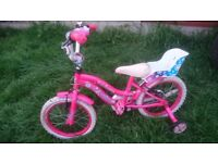 GIRLS CHILDS BIKE WITH STABALISERS BARGAIN ONLY £15