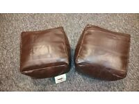 Two beanbag brown faux leather footstalls