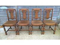 Four Antique Solid Oak Dining Chairs~ Vintage Chic~ Poss Shabby Chalk Paint ~Farrow Ball Annie Sloan