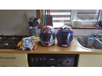 2 large crash helmets suomy and box ,full face helmets VGC some tiny scuffs