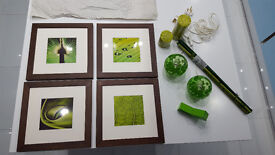 Green bundle: 2 lamps, 1 designer alarm clock, 4 plant pictures with frames, 2 candles, 1 bed spread