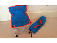 Childs folding camping picnic chair blue with a carry bag