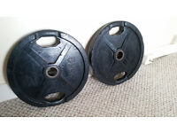 2 No. 25kg rubber coated Olympic weight plates