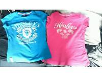 Henleys tshirts size 0, pink and turquoise. £10. Good condition