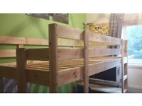 High sleeper bed, with custom made underneath table and side step