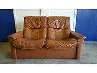 EKORNES STRESSLESS BROWN LEATHER RECLINING SOFA / SETEE / SUITE RETRO LOOKING 2 SEATER CAN DELIVER