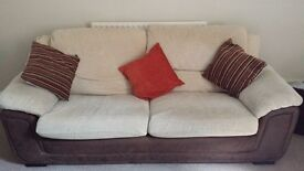 2 seater cream and brown sofa and armchair